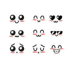 set kawaii cute tender faces with expression