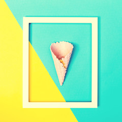 Ice cream cone on a bright background