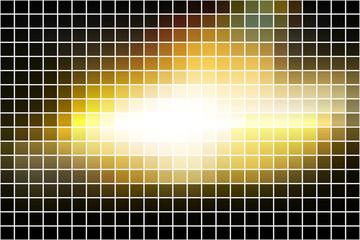 Black yellow white square mosaic background over white