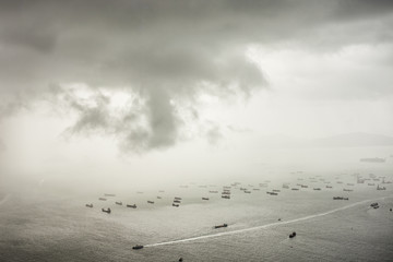 Typhoon shelter with many boats in Hong Kong