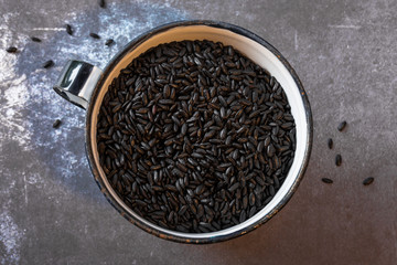 A cup of forbidden black rice
