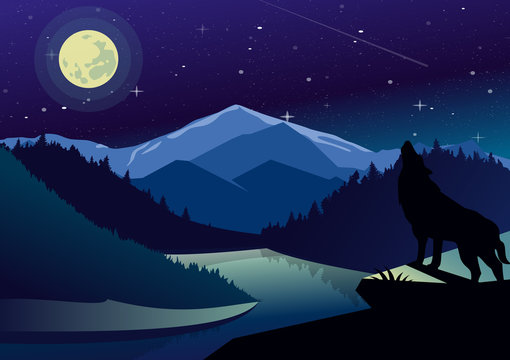Vector landscape illustration with mountains and forests in night time. Wolf on the top of mountain howling at the moon on background of river view, dark sky and stars.