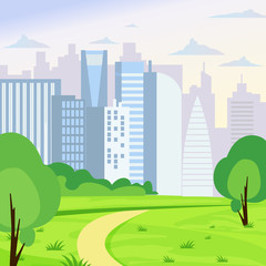 Vector illustration of green park landscape on big business city background in flat cartoon style.