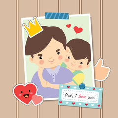 """Happy Father's Day. Photo of cartoon father and son hugging together. Photo frame decorated with stickers and memo written """" Dad, I love you!"""" on brown wooden wall. Vector illustration."""