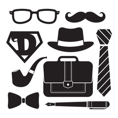 Father's Day icon set isolated on white. Symbol of men accessories in black & white color. Vector illustration.
