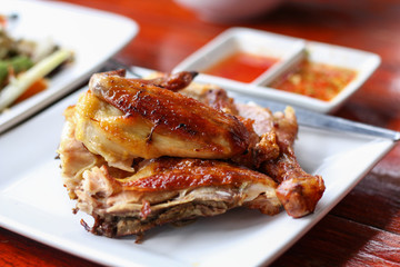 grilled poultry chicken with chili sauce