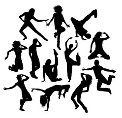 Cool Dance and Happy Jumping Expression Silhouettes, art vector design