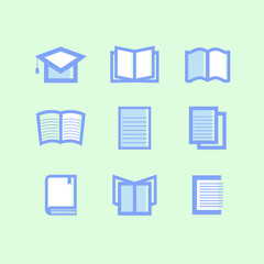 Library and education icons blue and white on green background