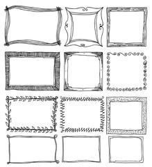 Frame Doodle line vector set eps10
