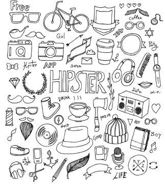 Hipster Doodle line vector set eps10