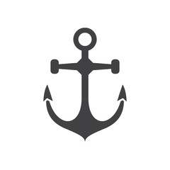 Nautical ship anchor vector icon in outline design.