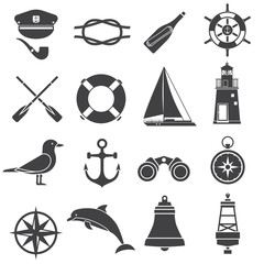 Nautical icon set. Maritime vector elements. Marine adventure equipment. Captain cap, lighthouse, dolphin, sailing ship, anchor, seagull, crab, compass and other sea symbols. Sea travel vector icons.