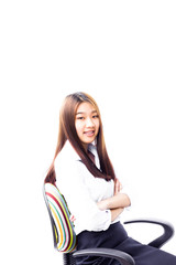 Smiling Asian business woman relaxing