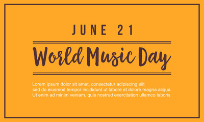World music day vector flat background style
