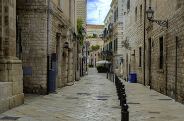 Bisceglie Puglia, Italy, narrow lane in the old town
