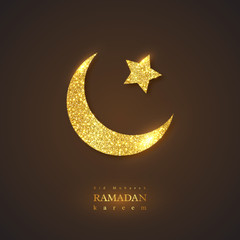 Ramadan Kareem holiday background. Glitter glowing design, black background. Vector illustration.