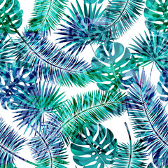 Beautiful seamless vector floral summer pattern background with tropical palm leaves and animal prints.Perfect for wallpapers, web page backgrounds, surface textures, textile.