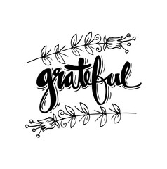 Grateful  hand lettering. Modern calligraphy.