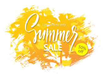 Summer sale banner. Tropical background with palm trees. Vector illustration EPS10.