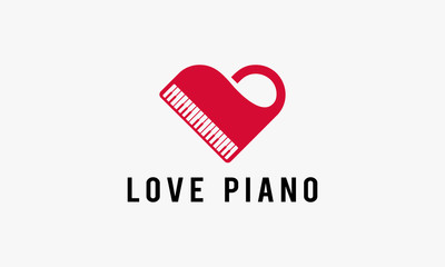 Love Piano Music Logo template designs Vector illustration
