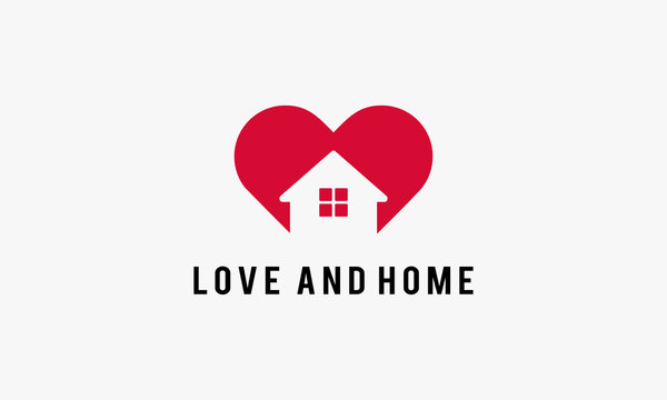 Simple Love and Home Logo Template designs, Vector illustration