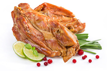 Smoked chicken meat on bones.