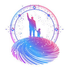 Father and son color tattoo art. Happy family of the future. Father teaches son to dream, life education. Immortality of human life t-shirt design. Milky Way with silhouette of  family graphic tattoo