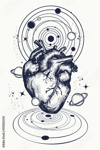 Heart In Space Tattoo Anatomic Heart Among Galaxies And Planets