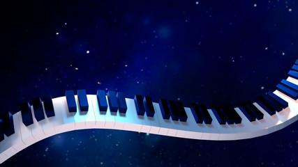 3d rendering picture of piano keyboard against dark sky.