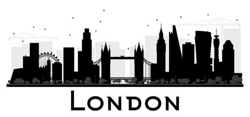 London City skyline black and white silhouette.