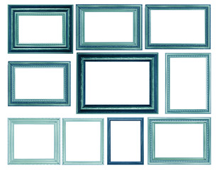 Set of Vintage blue and wood picture frame, isolated on white
