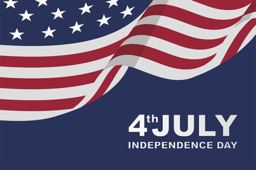 clean american happy independence day background with flat flag, for greeting card