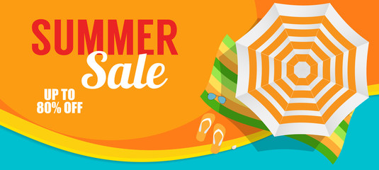 Summer Sale Banner Template for your Business. Vector Illustrati Fotomurales