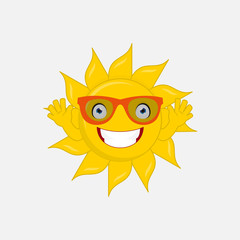 hello summer! isolated sun cartoon character wear sunglasses and hands up say hello