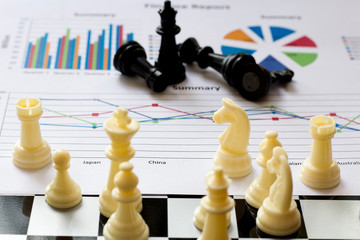 Business conceptual ,knight on the chess board win and lose , wing and lose business plan