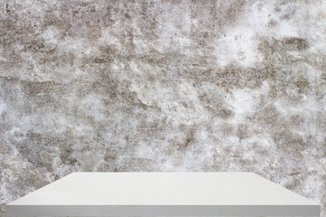 the marble plate for product display with raw concrete background