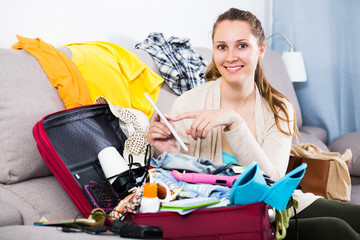 Woman getting ready for holidays