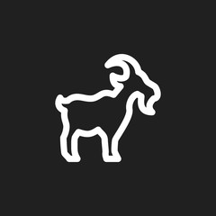 Vector Illustration Of Zoology Symbol On Cattle Outline. Premium Quality Isolated Goat Element In Trendy Flat Style.