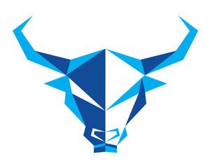 Polygonal Symmetrical Abstract Animal Logo - Bull
