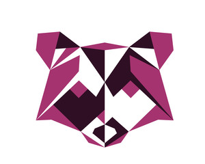 Polygonal Symmetrical Abstract Animal Logo - Raccoon