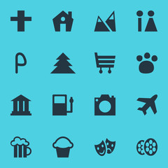 Vector Illustration Of 16 Map Icons. Editable Pack Of Pet Shop, Landscape, Home Elements.