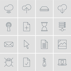 Vector Illustration Of 16 Network Icons. Editable Pack Of Checked Note, Photo, Wave And Other Elements.