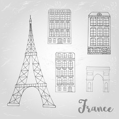 Vector urban icon with buildings and Eiffel Tower for postcards or web banner.