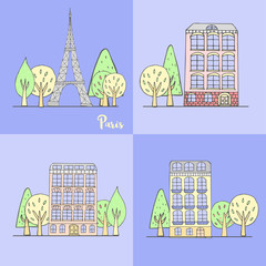 Vector urban banner with buildings, trees and Eiffel Tower for postcards or web.