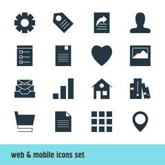 Vector Illustration Of 16 Internet Icons. Editable Pack Of Account, Landscape Photo, Bookshelf Elements.