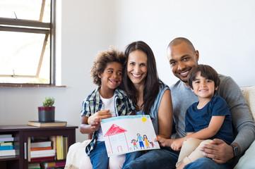 Multiethnic family on sofa