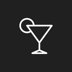 Vector Illustration Of Food Symbol On Cocktail Outline. Premium Quality Isolated Drink  Element In Trendy Flat Style.