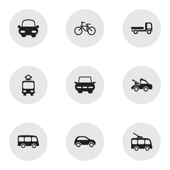 Set Of 9 Editable Transportation Icons. Includes Symbols Such As Auto, Tour Bus, Cycle And More. Can Be Used For Web, Mobile, UI And Infographic Design.