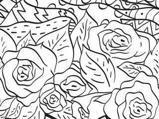 Pattern flower rose coloring vector for adults