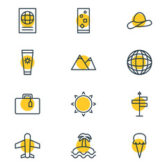 Vector Illustration Of 12 Summer Icons. Editable Pack Of Cap, Earth, Airplane And Other Elements.